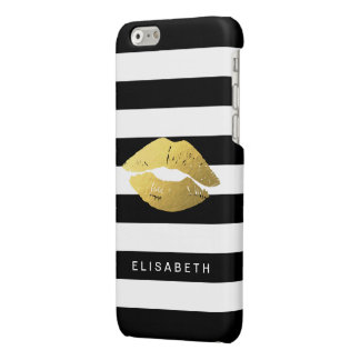 Girly Gold Lips with Trendy Black White Stripes Glossy iPhone 6 Case