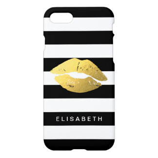 Girly Gold Lips with Trendy Black White Stripes iPhone 7 Case