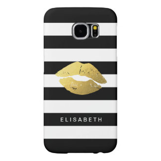 Girly Gold Lips with Trendy Black White Stripes Samsung Galaxy S6 Cases