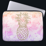 """Girly Gold Pineapple Pink Watercolor Laptop Sleeve<br><div class=""""desc"""">Protect your laptop with this stylish custom Neoprene Laptop Computer Sleeve (13 inch) featuring a girly &amp; chic faux glitter gold tropical pineapple silhouette on a pastel pink/purple/coral/peach watercolor splashes background. Made with 100% neoprene, this lightweight and water resistant sleeve is great for travel or just day-to-day use. Fully customizable....</div>"""