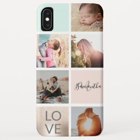 girly gold pink monogram love photo collage grid iPhone XS max case