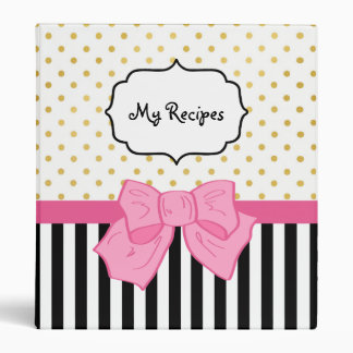 Girly Gold Polka Dots Recipe With Cute Pink Bow 3 Ring Binder