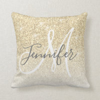 Girly Gold Sparkle Glitter Monogram Name Throw Pillow