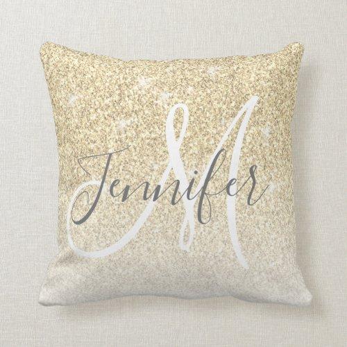 Girly Gold Sparkle Glitter Monogram Name Throw Pillow