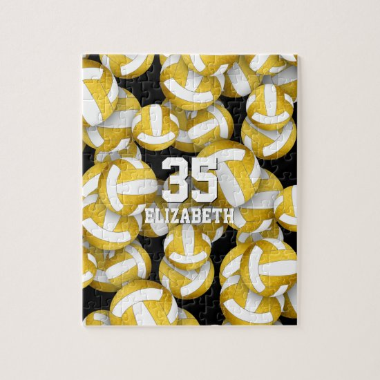 Girly gold white volleyballs pattern jigsaw puzzle