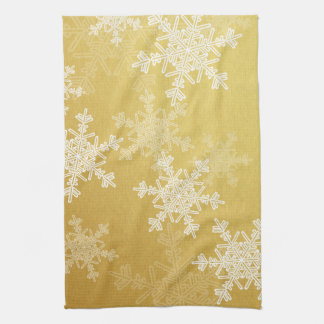 Girly golden and white Christmas snowflakes Hand Towel