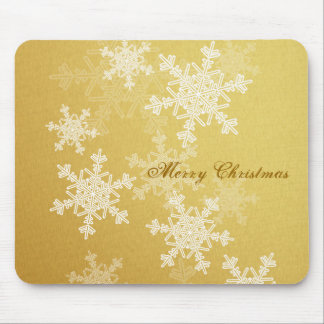 Girly golden and white Christmas snowflakes Mouse Pad