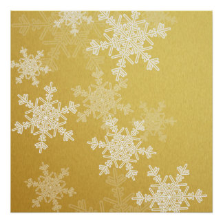 Girly golden and white Christmas snowflakes Poster