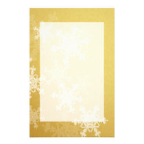 Girly golden and white Christmas snowflakes Stationery