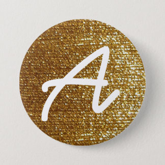 girly golden personalized initial pinback button