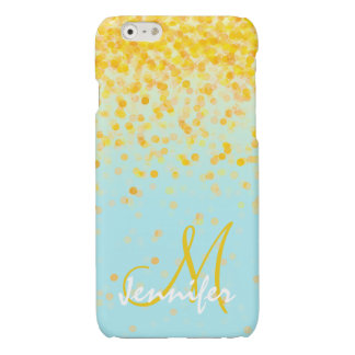 Girly golden yellow confetti turquoise ombre name glossy iPhone 6 case