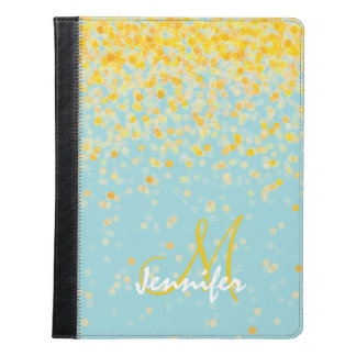 Girly golden yellow confetti turquoise ombre name iPad case
