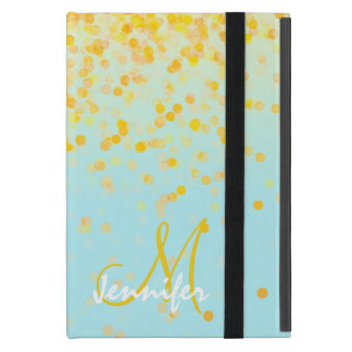 Girly golden yellow confetti turquoise ombre name iPad mini case