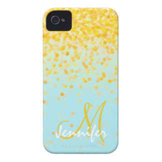Girly golden yellow confetti turquoise ombre name iPhone 4 case