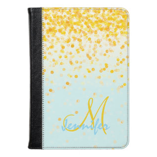 Girly Golden Yellow Confetti Turquoise Ombre Name Kindle Case at Zazzle