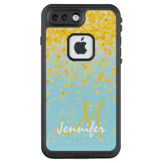 Girly golden yellow confetti turquoise ombre name LifeProof FRĒ iPhone 7 plus case