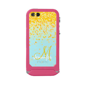 Girly golden yellow confetti turquoise ombre name waterproof iPhone SE/5/5s case