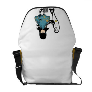 Girly Goth Girl with Black Cat Courier Bags