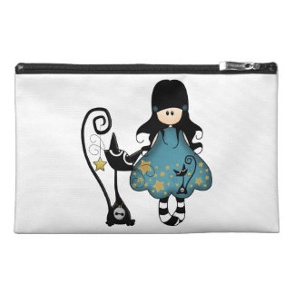 Girly Goth Girl with Black Cat Travel Accessory Bag