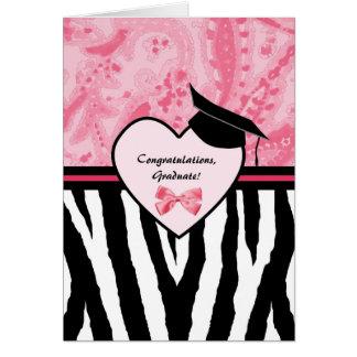 Girly Graduation Congratulations Zebra Pattern Card