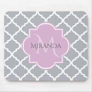 Girly Gray Quatrefoil Lavender Monogram and Name Mouse Pad