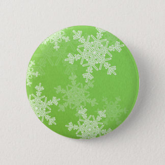 Girly green and white Christmas snowflakes Button