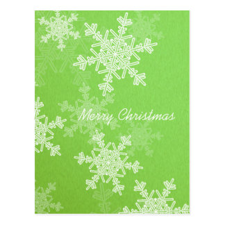 Girly green and white Christmas snowflakes Postcards