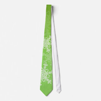 Girly green and white Christmas snowflakes Tie