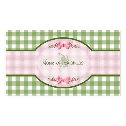 Girly Green Gingham Monogram Occupation Name Business Cards