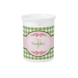 Girly Green Gingham Monogram With Name Beverage Pitcher