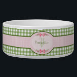 "Girly Green Gingham Monogram With Name Bowl<br><div class=""desc"">A cute country style green gingham monogram pet dish with a pink gingham label and a girly filigree pink ribbon. Personalize by adding your name and initials. Will appeal to the stylish and feminine girl.</div>"
