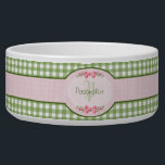 """Girly Green Gingham Monogram With Name Bowl<br><div class=""""desc"""">A cute country style green gingham monogram pet dish with a pink gingham label and a girly filigree pink ribbon. Personalize by adding your name and initials. Will appeal to the stylish and feminine girl.</div>"""