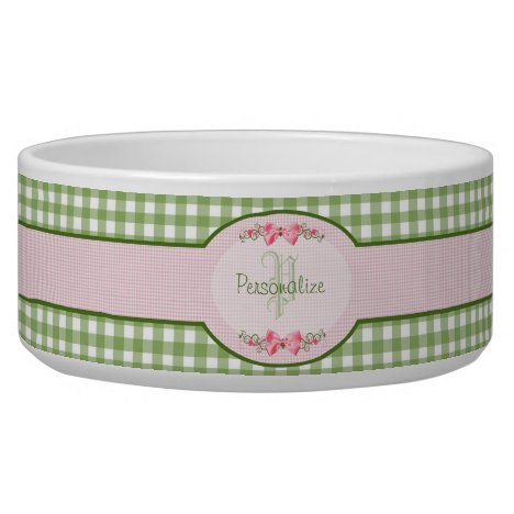Girly Green Gingham Monogram With Name Bowl