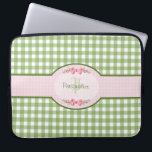 """Girly Green Gingham Monogram With Name Computer Sleeve<br><div class=""""desc"""">A cute country style green gingham monogram laptop case 15 inch with a pink gingham label and a girly filigree pink ribbon. Personalize by adding your name and initials. Will appeal to the stylish and feminine girl.</div>"""