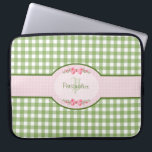 "Girly Green Gingham Monogram With Name Computer Sleeve<br><div class=""desc"">A cute country style green gingham monogram laptop case 15 inch with a pink gingham label and a girly filigree pink ribbon. Personalize by adding your name and initials. Will appeal to the stylish and feminine girl.</div>"