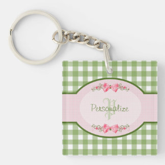 Girly Green Gingham Monogram With Name Keychain