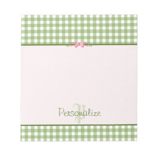 Girly Green Gingham Monogram With Name Note Pad