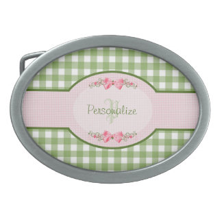 Girly Green Gingham Monogram With Name Oval Belt Buckle