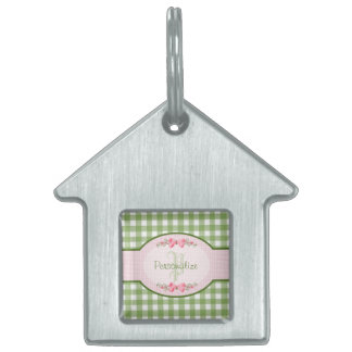 Girly Green Gingham Monogram With Name Pet ID Tag