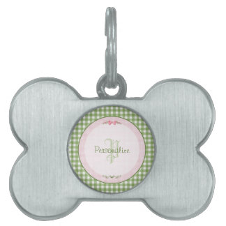 Girly Green Gingham Monogram With Name Pet Tag