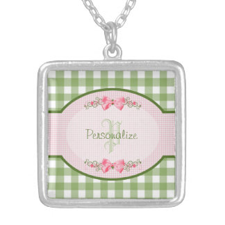 Girly Green Gingham Monogram With Name Silver Plated Necklace