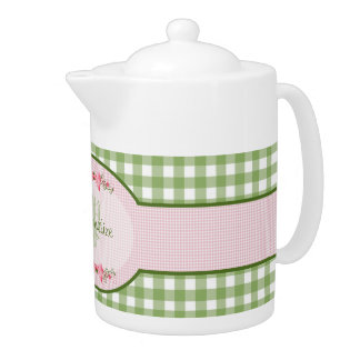 Girly Green Gingham Monogram With Name Teapot