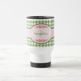 Girly Green Gingham Monogram With Name Travel Mug