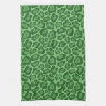 Girly Green Leopard Pattern Kitchen Towel
