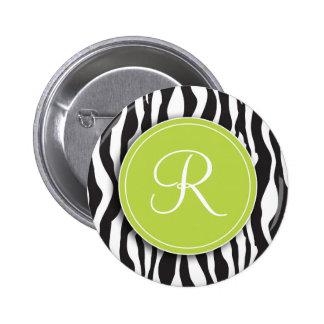 Girly Green Monogram Zebra Print Button