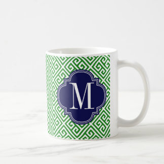 Girly Green & Navy Greek Key Pattern Custom Coffee Mug