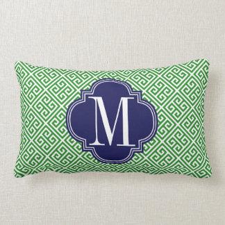 Girly Green & Navy Greek Key Pattern Custom Throw Pillow