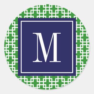 Girly Green & Navy Squares Pattern Custom Classic Round Sticker