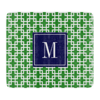 Girly Green & Navy Squares Pattern Custom Cutting Boards