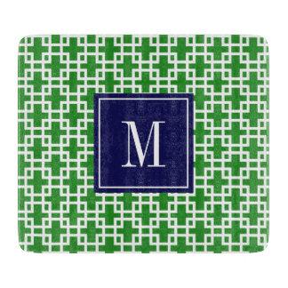 Girly Green & Navy Squares Pattern Custom Cutting Board
